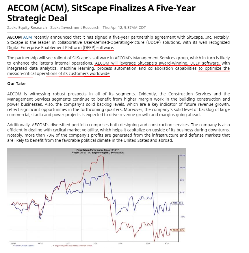 Sitscape Broad Coverage From Top Sources On Aecomsitscape
